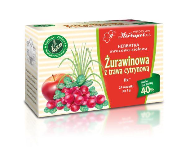 herbatka ziołowa z żurawiną i dodatkiem trawy cytrynowej saszetki producent herbapol