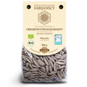 pełnoziarnisty ciemny makaron bio orkiszowy typu muszla producenta fabijańscy