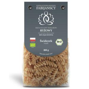 ekologiczny Makaron ryżowy biały typu świderki BIO z pełnoziarnistej mąki fabijańcy