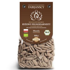 ciemny ekologiczny Makaron ryżowy brązowy typu muszla BIO