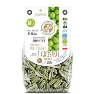 ekologiczny Makaron z groszku zielonego typu muszla bezglutenowy BIO producenta fabijańscy
